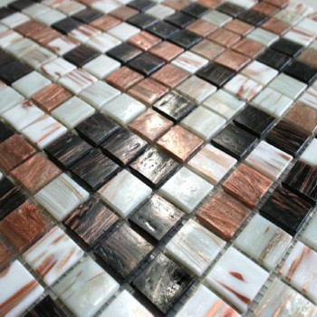 Glasmosaik 20x20x4mm Brun Mix Metallic