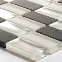 Mosaik Glas Marmor 23x48x8mm Vit Mix
