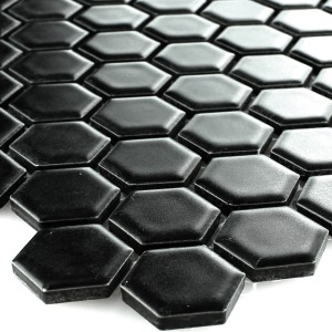 Mosaik Keramik Hexagon Svart Matt H23