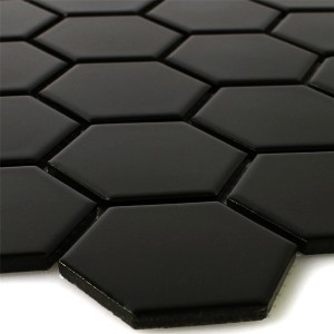 Mosaik Keramik Hexagon Svart Matt