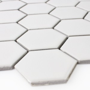 Mosaik Keramik Hexagon Vit Matt