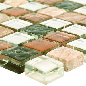 Mosaik Glas Marmor 15x15x8mm Brun Mix Duo